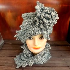 Crochet Hat and Scarf Set - LAUREN Cloche Hat with Flower & LAUREN Cowl Scarf in Gray - Sets Hat and Scarf - Womens Crochet Cloche Hat