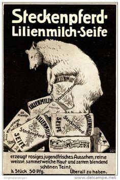 Original-Werbung/ Anzeige 1911 - STECKENPFERD LILIENMILCH-SEIFE / MOTIV BÄR - ca. 80 x 130 mm