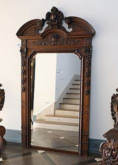 French Antique Renaissance-style Finely Carved Walnut Mirror
