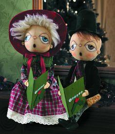 Cora & Cornelius Carolers. Cute Christmas Soft Sculpture Dolls. Available at TheHolidayBarn.com A Joe Spencer design.