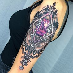 half sleeve tattoos for women upper arm mandala ~ upper arm tattoos for women mandala . half sleeve tattoos for women upper arm mandala . Upper Half Sleeve Tattoos, Lace Sleeve Tattoos, Upper Thigh Tattoos, Half Sleeve Tattoos Designs, Tattoos For Women Half Sleeve, Lace Tattoo, Tattoo Designs, Arm Tattoos Color, Girly Tattoos