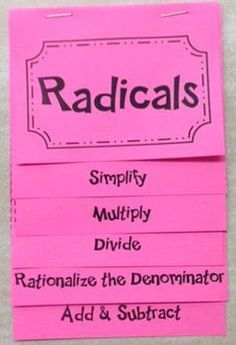 Introduction to Radicals (Algebra Foldable). Looks awesome!