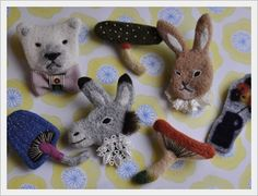 felting animal brooches