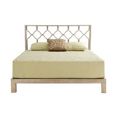 This incredible bed features a unique honeycomb-style headboard with a modern Aura gold platform-style frame. The geometric pattern and warm, brushed gold finish combine to create a luxurious, contemporary addition to your sleeping space.