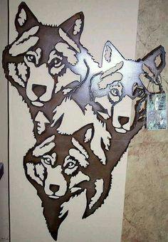 Wood Wolf Heads Crafts