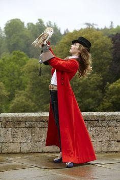 Honeysuckle Weeks - Red military coat by Anita Massarella for Hainsworth