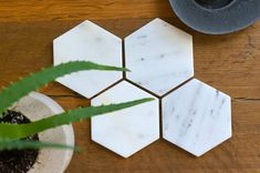 New Mini Hexagon Marble Coasters. Carrara White by MeAConcrete