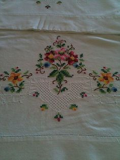 Vintage Pillowcases Hand Embroidered Cross Stitch Cottage Romantic | eBay