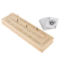 The Cribbage Board Game is a classic strategy game that is fun for the whole family! This complete set has everything you need to play and includes a full deck of playing cards, nine metal playing pieces, and the score board with storage space. Created in England in the early 17th century, this entertaining card game promotes critical thinking skills and is fun for kids and adults of all ages. Play Wood, Family Card Games, Wood Games, English Games, Cribbage Board, Time Kids, Critical Thinking Skills, Kids Wood, Bnf