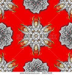 Seamless pattern on red background with golden elements. Vector oriental style arabesques. Brilliant lace, stylized flowers, paisley. Seamless golden texture curls. Openwork delicate golden pattern.