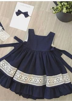 Kids dress pattern with pleats on front Order via line : @ Frocks For Girls, Kids Frocks, Dresses Kids Girl, Kids Outfits, Newborn Girl Outfits, Baby Dresses, Dress Girl, Fall Outfits, Baby Dress Pattern Free