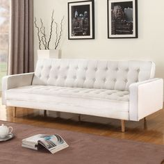 """Features:  -Easy conversion to sleeper and back to sofa.  -Soft linen upholstery.  Product Type: -Convertible Sofa.  Style: -Modern.  Frame Material: -Wood. Dimensions:  -Flat: 75"""" W x 42"""" D.  Overall"""