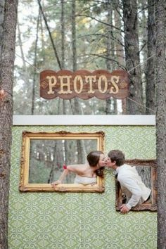 Make a piece of plywood into a beautiful photo op for the wedding couple and guests to use throughout the evening