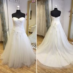 Sincerity 'Hayley'. Available in size 18. RRP £995, now just £650! Call 01525 305 008 or email enquiries@lucyhartbridal.com.