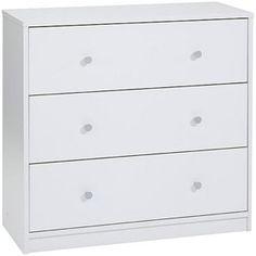 "Studio 3-Drawer Dresser, White  $69  28.5""L x 11.75""W x 26.75""H"