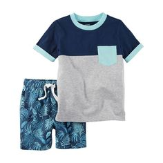 Featuring French terry shorts and a pocket tee, your little man will love wearing this comfy and cool set. Toddler Boy Outfits, Baby Kids Clothes, Toddler Boys, Outfits Niños, Kids Outfits, Baby Boy Fashion, Kids Fashion, T Shirt And Shorts, Print Shorts