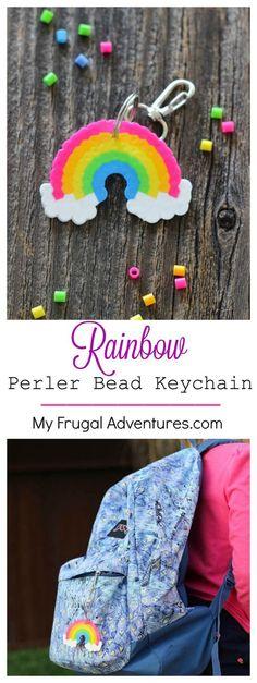 Regenbogen aus Bügelperlen - Basteln mit Kindern