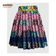2018 AFRIPRIDE Private Custom women summer skirt made by pure cotton knee-length colorful fashional sexy pleated skirt Short African Dresses, Latest African Fashion Dresses, African Print Fashion, African Attire, African Wear, South African Traditional Dresses, Style Africain, African Print Skirt, Ideias Fashion