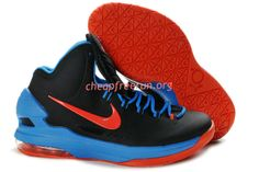 super cute fdaa0 005f5 New Nike Zoom KD V Kevin Durant 5 Shoes For Sale GS OKC Away Black Blue