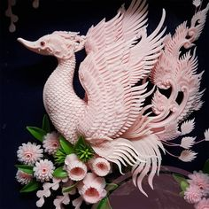 Dragons and Floral Designs Carved from Soap and Melons by Krasinthusith