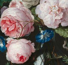 detailsofpaintings:Jan Davidsz. van Heem, Stilleven met bloemen in een glazen vaas (detail)1650-83