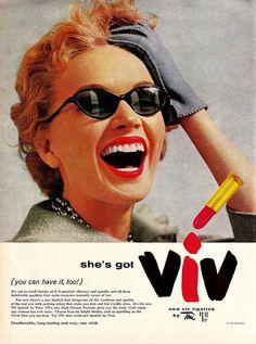 She's Got Viv! Toni's viv, that is! #vintage #ad #makeup #cosmetics #lipstick #1950s