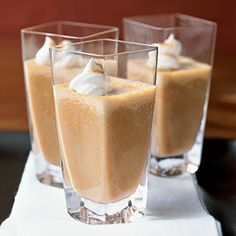Pumpkin Pie Shakes:  2 C vanilla ice cream softened; 1 C milk; 2/3 C canned pumpkin; 1/4 C packed brown sugar; 3/4 tsp pumpkin pie spice; 3 T frozen whipped topping, thawed and pumpkin pie spice.  Combine first 5 ingredients in a blender; process until smooth. Pour 3/4 C ice cream mixture into each of 4 glasses. Top each with about 2 tsp whipped topping; sprinkle with the additional pumpkin pie spice, if desired.  (Can be made with fat-free or low fat ingredients also).