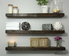 Reclaimed Wood Floating Shelf (125.00 USD) by Blissopia