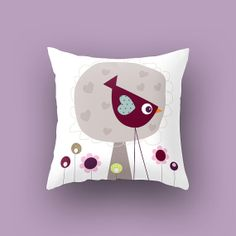 Kids throw pillow. Cushion Lovely Bird front by Lespetitsbuttons