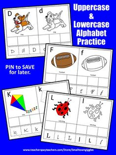 These printable uppercase and lowercase alphabet letter worksheets work well for preschool, kindergarten, ESL, speech and language therapy, special education and students with autism. They may be used in literacy centers or interactive notebooks as extra practice, review activities, early finishers or for emergency sub plans.