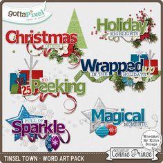 Tinsel Town - WordArt Pack :: Gotta Pixel Digital Scrapbook Store  $2.99