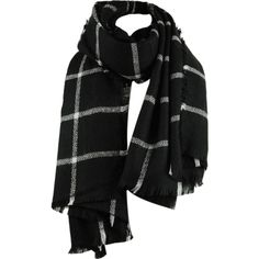 Black ONE SIZE Vintage Checked Pattern Faux Wool Fringed Long Scarf ($8.13) ❤ liked on Polyvore featuring accessories and scarves