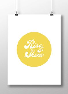 "Typography Poster Instant Download ""Rise And Shine"" Typography Quote Motivational Home Decor Screenprint Letterpress Style"