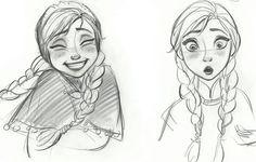 Disney Frozen Anna Sketches Front view