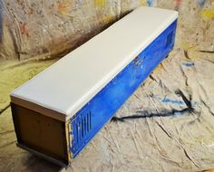 industrial metal locker bench w/ white vinyl padded seat