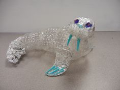 The smARTteacher Resource: Sea Trash – Ocean Trash Plastic Bottle Crafts, Plastic Art, Recycled Art Projects, Recycled Crafts, Classroom Art Projects, Art Classroom, Sea Animal Crafts, Paper Mache Animals, Sea Sculpture