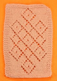 Diamond Lattice Panel (9 Stitches)- Knit by Rasa using DK weight acrylic on US Size 6 needles