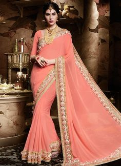 Buy #Sophisticated Georgette Pink Patch Border Work Classic Designer #Saree #sarees #royal #designersarees #ethnic #glamour #sareelove #sareesonline #womensarees #indianwear