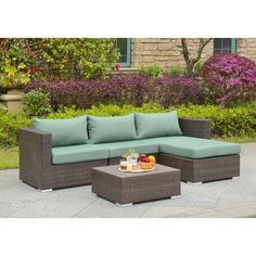 Beachcrest Home Asther 5 Piece Rattan Sectional Sectional Seating Group Fabric: Tan Outdoor Sofa Sets, Outdoor Seating, Outdoor Rooms, Rattan Furniture Set, Outdoor Furniture, Porch Furniture, Furniture Ideas, Furniture Layout, Luxury Furniture