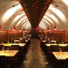 Underground interior design, restaurant seating, lighting, brickwork, On The Waterfront, Devon, England