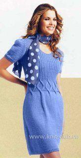 Голубое платье с ромбами
