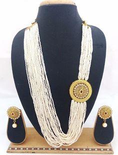 Indian Bollywood Celebrity Latest Designer CZ Pearl Huge Necklace Earrings Set #ShouryaExports #EthnicandContemporary