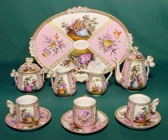 Meissen Tea Set 1889 Hand painted courting scenes, florals and gilding, butterfly finials and handles