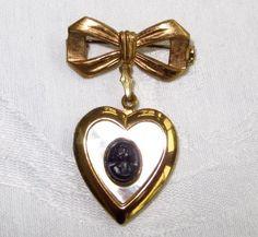 Cameo Heart Locket Brooch Vintage Pin by VintageVogueTreasure