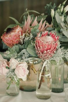 Pink protea + greens in small glass vases