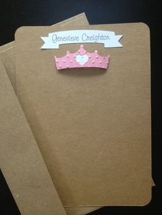 Princess Crown, Personalized Handmade and Custom Made Stationery and Thank You Cards for Kids, Set of 8
