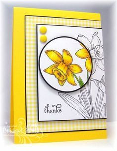 handmade card: CAS164 Gingham Daffodils by bfinlay ...bright white and yellow with thin black mats and ink ... beautiful example of the spotlight technique ... luv the asymmetrial placement of the layers runing off the side ...
