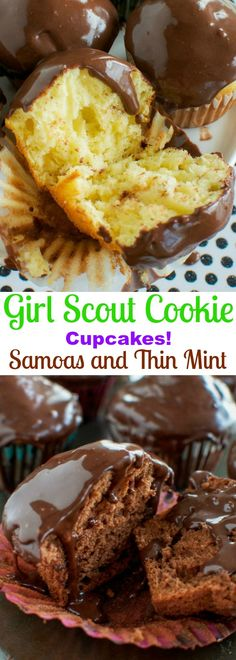 Easy Girl Scout Cookie Cupcakes! Thin Mint and Samoas!