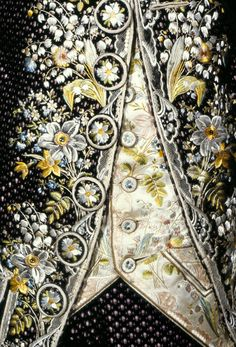 Detail of man's court suit.  Velvet, lined with satin. (circa 1775)