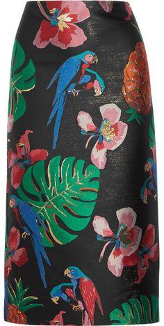 Valentino Floral-jacquard Midi Skirt